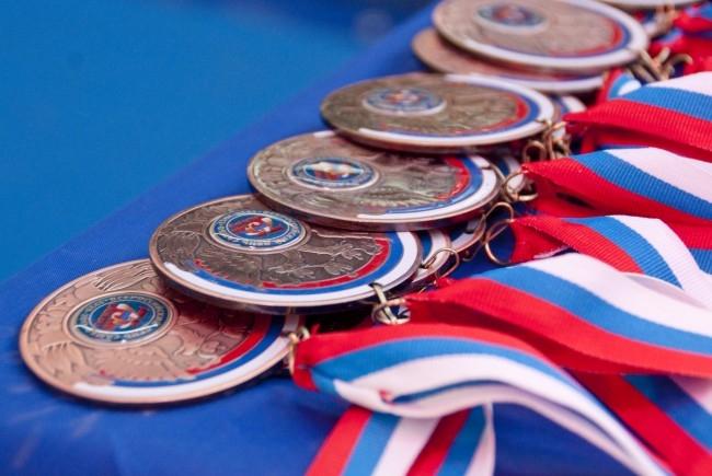 Победители турнира по самбо получили медали, дипломы и футболки.