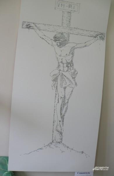 Спаситель. картина из степлерных скрепок. Андрей Овчинников