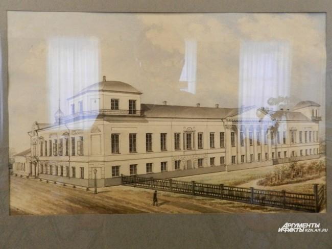 Неизвестный художник. Здание благородного гимназического пансиона в Рязани. после 1869 года