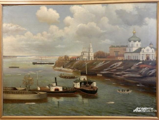 Чижин С., Вид на рязанский кремль в разлив, конец XIX века