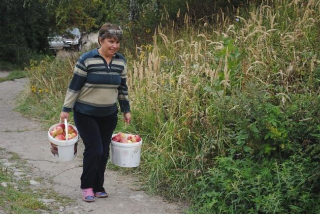 Славно поработавшие садоводы с плодами своего труда.