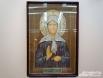 Икона святой блаженной Матроны расшита жемчугом, гранатом и бисером.