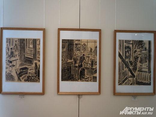 Графика представлена в экспозиции рядом с традиционной живописью.