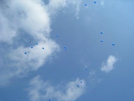 Синие шары взлетели в небо.