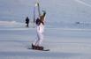Катя призналась, что ей ничуть не страшно было спускаться с горы на сноуборде с факелом.