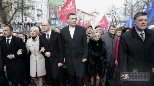Олег Тягнибок, Ирина Фарион, Виталий Кличко и Арсений Яценюк