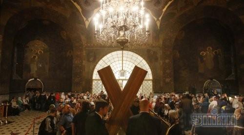 Крест апостола Андрея Первозванного в Трапезном храме Киево-Печерской Лавры
