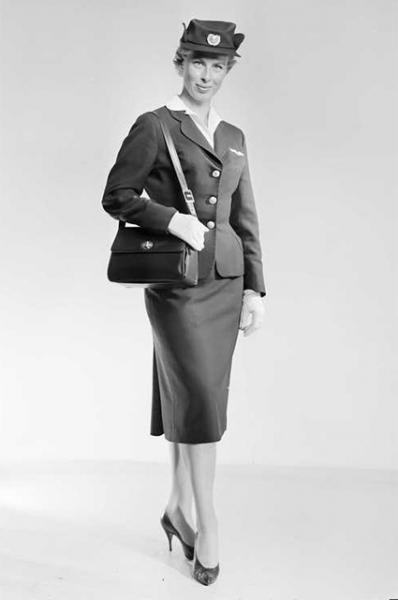 Стюардесса скандинавских авиалиний, 1959 год.