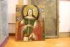 Белорусская икона. В русской традиции цветы у головы и волосах святого недопустимы.
