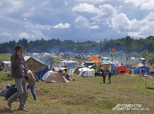 Палаточный лагерь на переправе
