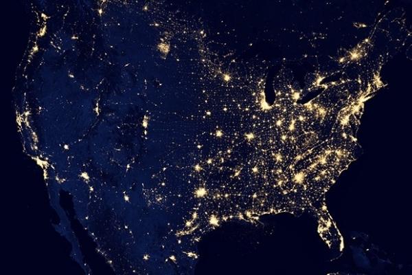 Ночные огни США.