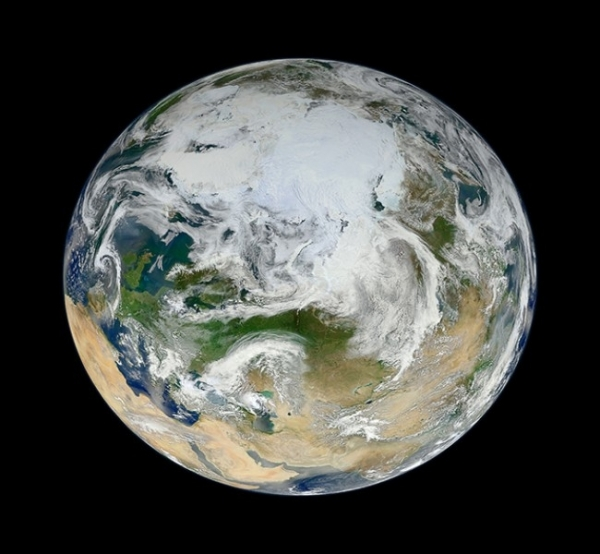 Фотография рельефа Земли и всей нашей планеты из космоса.