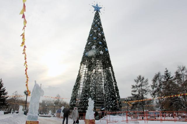 Тем временем в центральном сквере завершают сборку главной городской елки.