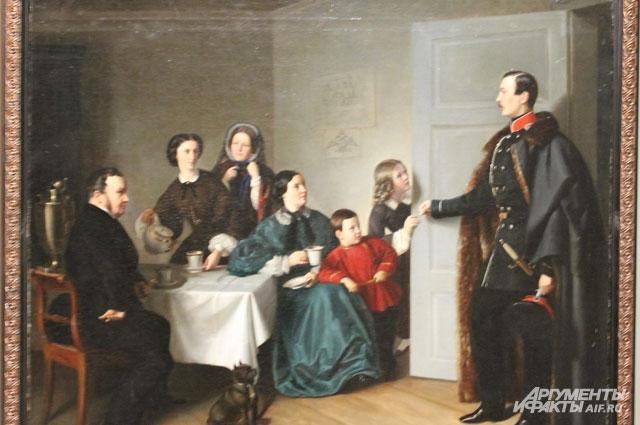 На картине немецкого художника Эстерлей изображена сцена возвращения старшего сына в семью.
