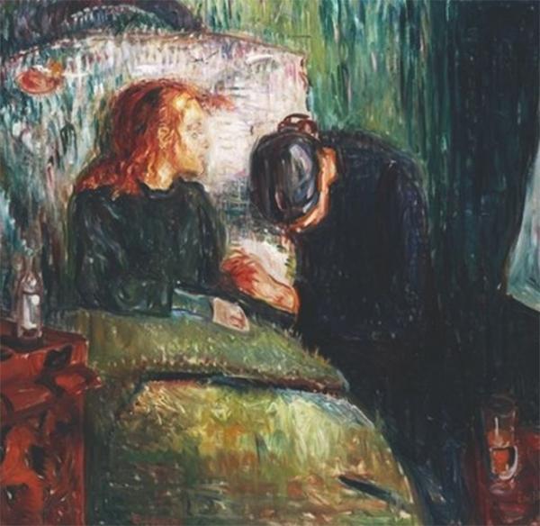 В 23 года Мунк впервые совершил поездку в Париж, где посетил выставку импрессионистов. Под вдохновением от увиденных картин он написал «Больную девочку», в которой нашли отражение его воспоминания о болезни и смерти старшей сестры художника.