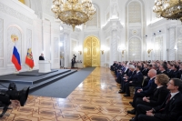 Владимир Путин во время оглашения ежегодного послания Федеральному собранию.