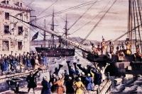 «Бостонское чаепитие». Литография 1773 года.