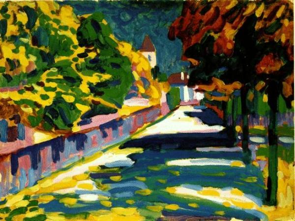 Вторая половина 10-х годов XXвека, проведённая вГермании, считается расцветом почерка художника. Именно вэтот период своего творчества Кандинский нашёл собственный стиль, используя приёмы нефигуративного искусства.