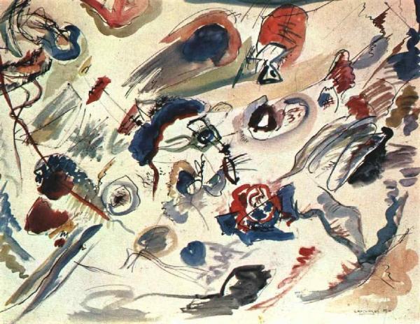 К1909 году манера работ Василия Кандинского выходит запределы экспрессионизма, ив1910 году художник пишет «Первую абстрактную акварель», которая фактически становится отправным пунктом направления абстракционизм.