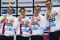 Команда сборной России в мужской эстафете (4x50) на Чемпионате Европы в Дании.