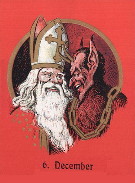В католичестве также существует Крампус – чёрт или дьявол, являющийся антиподом Николая Чудотворца, но в то же время его спутником. Вместо того чтобы раздавать подарки, Крампус наказывает непослушных детей.