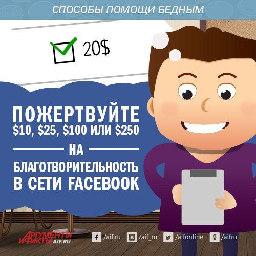 В социальной сети Facebook появилась кнопка «Пожертвовать». С  ее помощью можно пожертвовать $10, $25, $100 или $250. В Facebook утверждают, что 100% полученных таким образом средств будет передано на благотворительность.