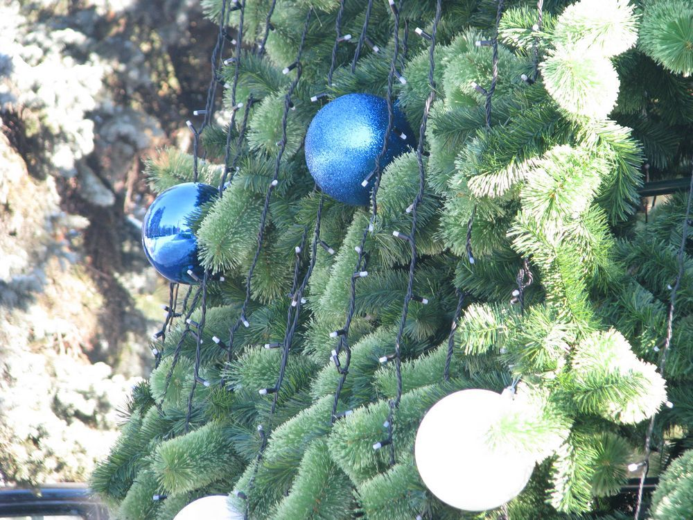 Новогоднее дерево украшают более 800 шаров белого, серого и синего цвета, а на верхушке закреплен шпиль.