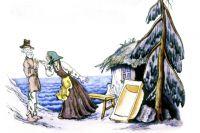 Иллюстрации из книги А.С. Пушкина «Сказка о рыбаке и рыбке» художник В. Конашевич. Фоторепродукция.