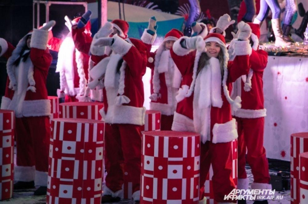 Танцами попытались подогреть морозную атмосферу.