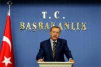 Премьер-министр Турции Тайип Эрдоган обращается к СМИ.