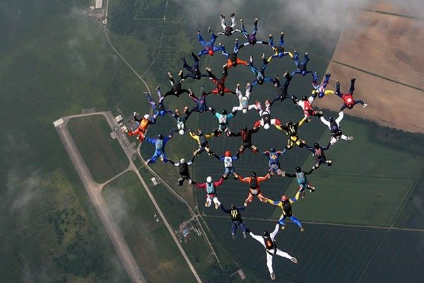Ещё одной разновидностью парашютного спорта являются большие формации, в которых участники стремятся построить фигуру из большого числа парашютистов в свободном падении и удержать её в течение нескольких секунд.