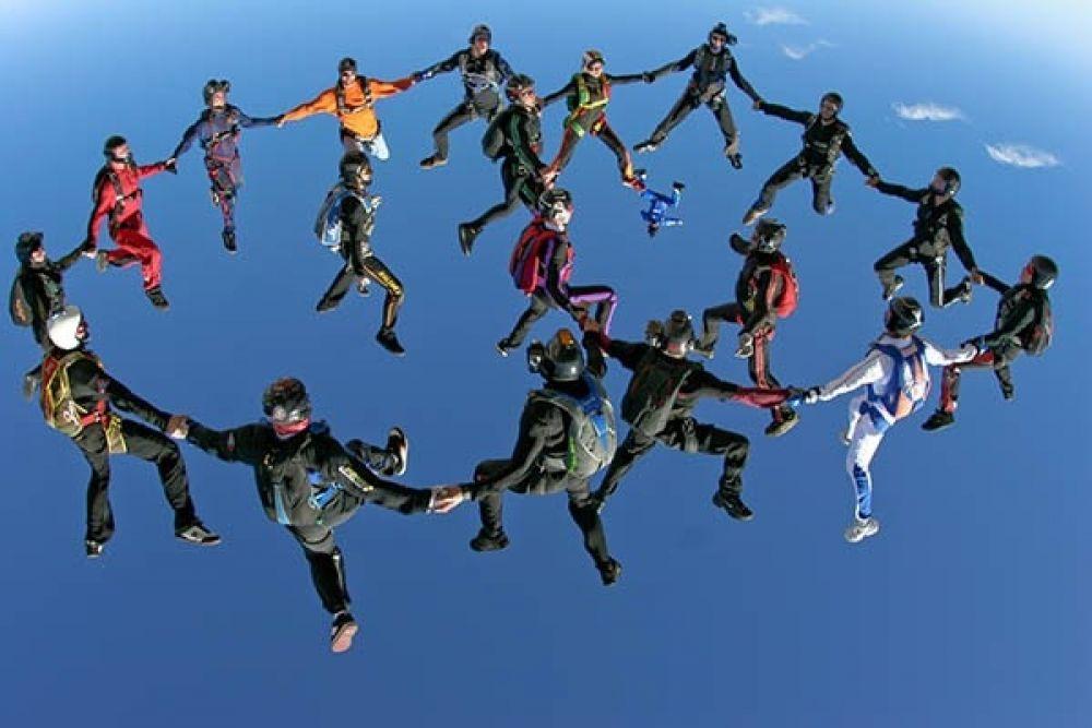 Групповая акробатика делится на несколько подвидов, которые различаются по количеству участвующих в команде парашютистов.