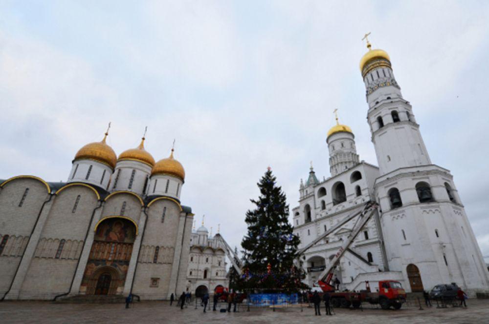 Главная новогодняя ель России установлена на Соборной площади Кремля в Москве. 110-летнее дерево было срублено под Наро-Фоминском. В этом году было решено уменьшить число украшений и ограничиться лишь шариками, чтобы подчеркнуть красоту самой ели.