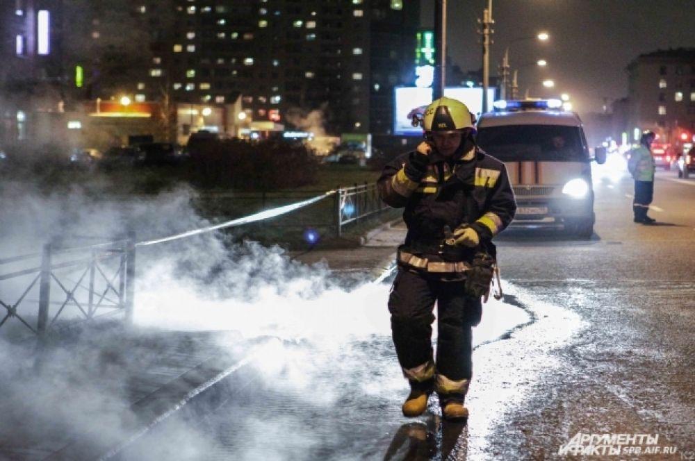 Устранение последствий прорыва трубопровода с горячей водой