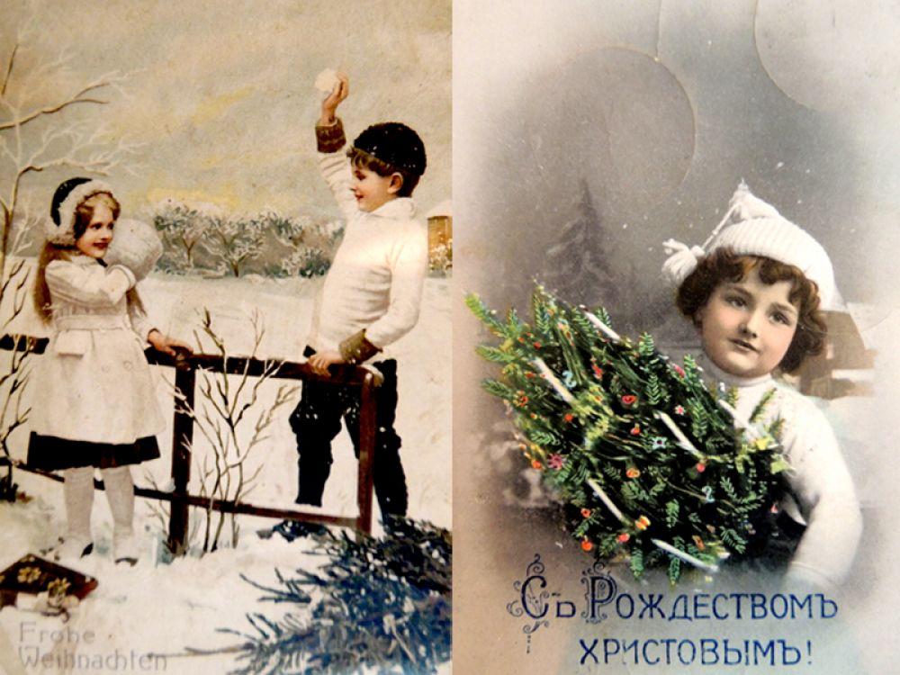 Дети и их забавы - излюбленные сюжеты художников для рождественских открыток.