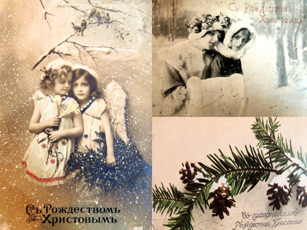 Рождественская открытка изображала природу или трогательные сцены.