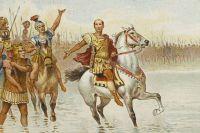 Гай Юлий Цезарь пересекает реку Рубикон. Фрагмент открытки.
