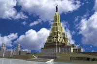 Проект Дворца Советов в Москве, современная 3D модель.