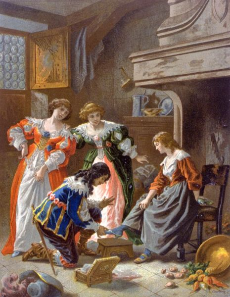 Иллюстрация Фредерика Теодора Ликса, на которой изображена одна из основных сцен сказки «Золушка», XIX век.