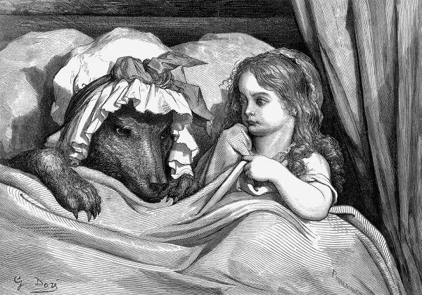 Иллюстрация Гюстава Доре к сказке «Красная шапочка», XIX век.