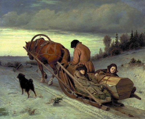 Картину «Проводы покойника» Василий Перов написал в 1865 году, после того как вернулся из путешествия по Германии и поселился в Москве.