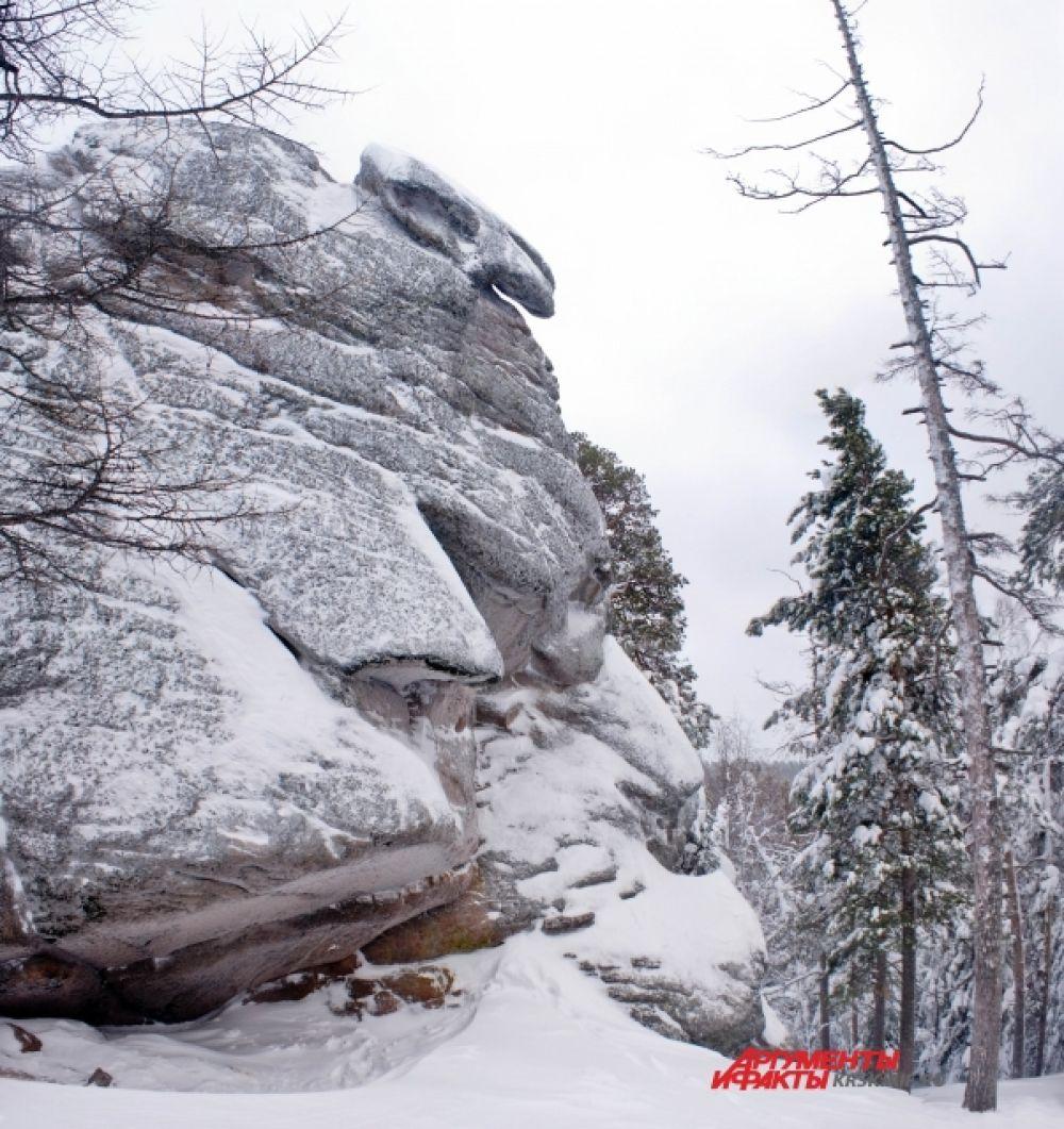 Зимой скалы заметает снежным покрывалом.