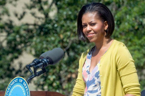 Мишель Обама выступает с благодарственной речью для сотрудников Пентагона, 9 апреля 2010 года.