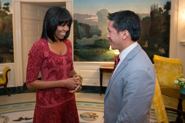 Мишель Обама на приёме в честь своего 49-го дня рождения, 17 января 2013 года.