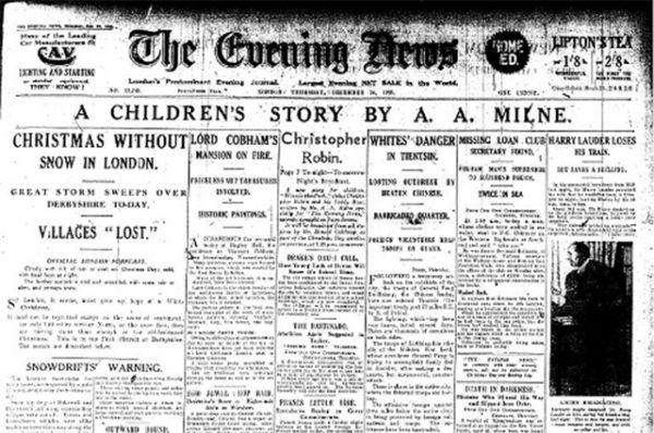 После этого Милн решил написать серию рассказов о Винни-Пухе, любимой игрушке сына, и посвятил их своей умершей жене Дороти. Первый рассказ был опубликован в 24 декабря 1925 года в London Evening News.