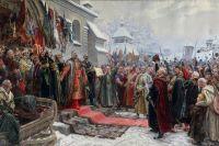 Фрагмент картины Михаила Хмелько Иванович «Навеки с Москвой, навеки с Русским народом», 1951 г.