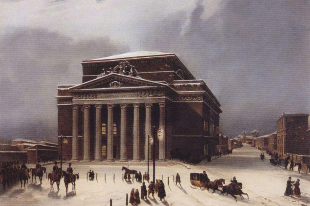 Открытие Большого театра в 1825 году сопровождалось представлением «Торжество муз», сюжет которого рассказывал о том, как Гений России, объединившись с музами, на руинах старого создал новый театр.