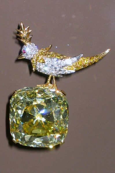 Самым известным произведением Тиффани является украшение «Птица на скале». В нём используется бриллиант, найденный на руднике в ЮАР в 1877 году. Драгоценный камень выступил в качестве главной драгоценности Всемирной выставки в Чикаго в 1893 году, а на выставке в Нью-Йорке в 1901 году получил высшую награду.