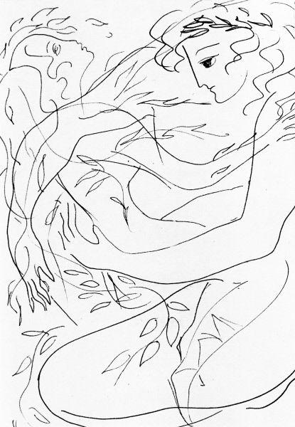 Рисунок Нади Рушевой «Аполлон и Дафна». Перо. 1969 год. Репродукция