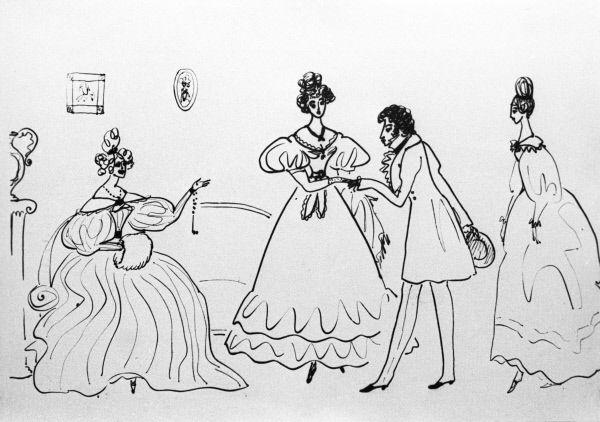 Репродукция рисунка «В семьей Ушаковых на Пресне»